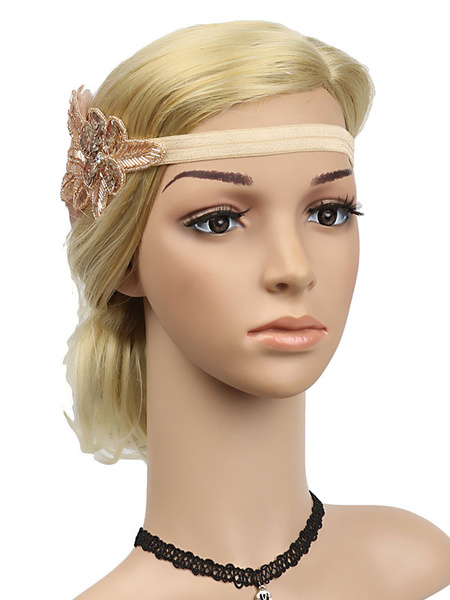 Milanoo Flapper Headband 1920s Great Gatsby Headband Sequined Feather Women Retro Hair Accessories Halloween