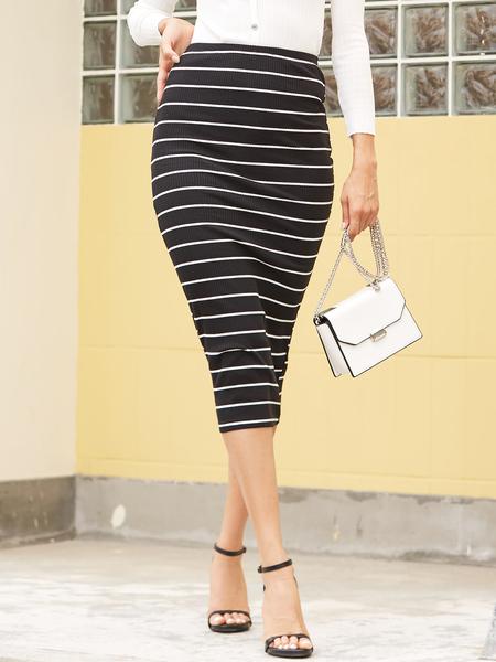 YOINS Black Stripe Print Bodycon Hem High-Waisted Knit Skirt