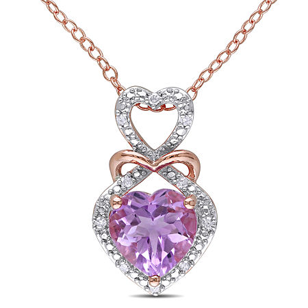 Womens Diamond Accent Genuine Purple Amethyst 18K Gold Over Silver Pendant Necklace, One Size , No Color Family