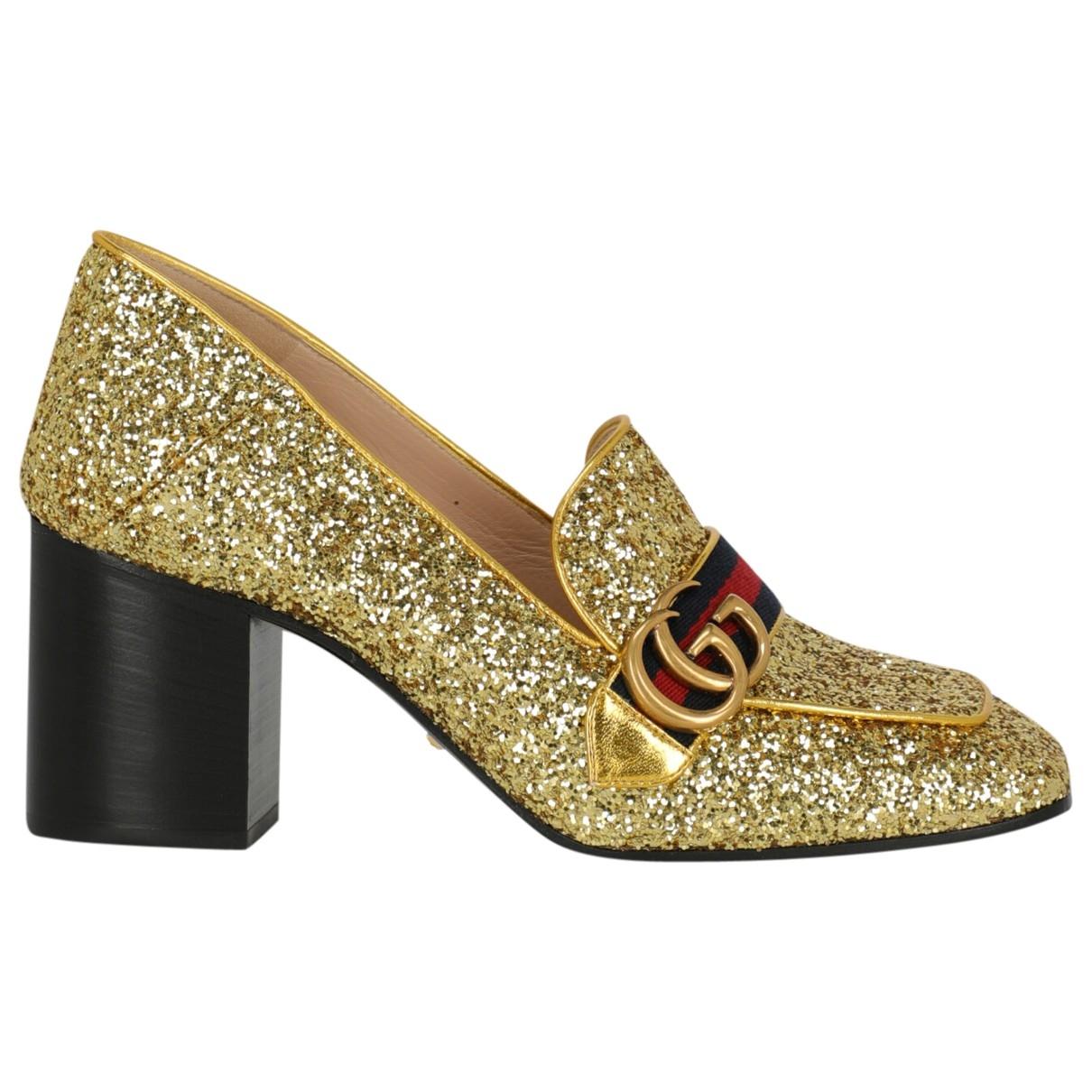 Gucci Peyton Gold Glitter Heels for Women 40 IT