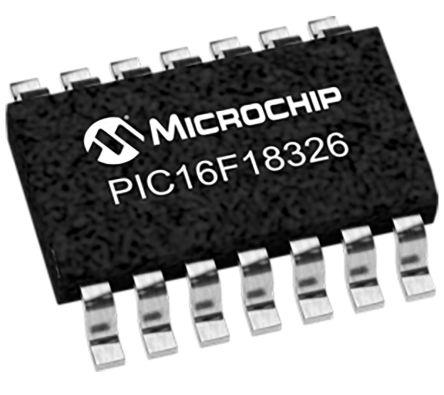 Microchip PIC16F18326-I/SL, 8bit PIC Microcontroller, PIC16, 32MHz, 28 kB Flash, 14-Pin SOIC (5)