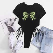 Body mit Drachen und Buchstaben Muster, Band auf Taille und hohem Ausschnitt