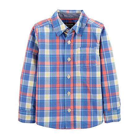 Oshkosh Toddler Boys Long Sleeve Button-Down Shirt, 3t , Blue