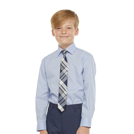 Collection By Michael Strahan Big Boys Spread Collar Long Sleeve Shirt + Tie Set, 16 Husky , Blue