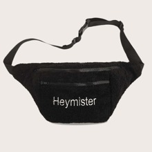 Men Letter Embroidered Faux Shearling Fanny Pack