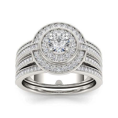 1 CT. T.W. Diamond 14K White Gold Bridal Ring Set, 8 1/2 , No Color Family