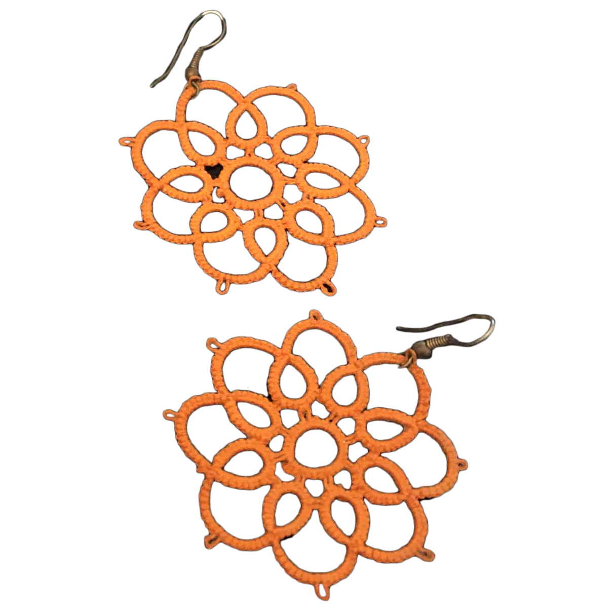 Non Signe / Unsigned Motifs Floraux OhrRing in  Orange Metall