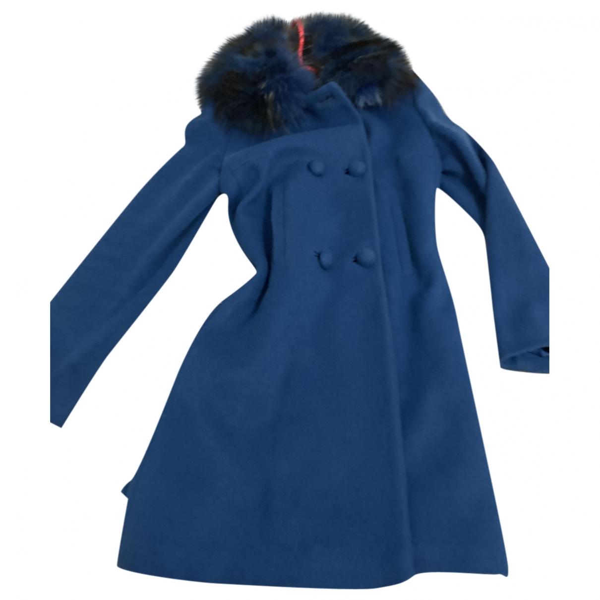 Twin Set - Manteau   pour femme en laine - bleu