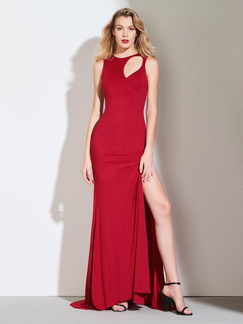 Ericdress Sheath Scoop Neck Split-Slit Red Evening Dress