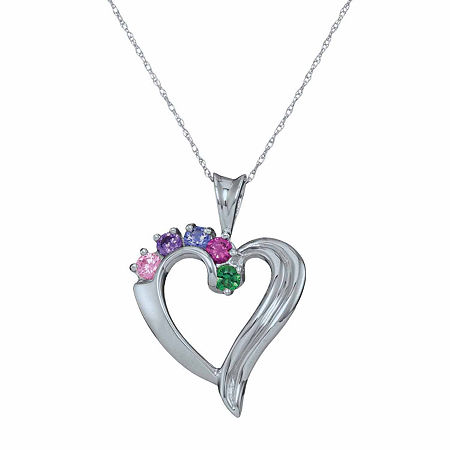 Personalized Simulated Birthstone Heart Pendant Necklace, One Size , White