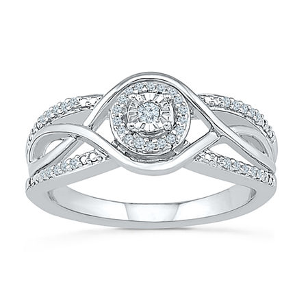 Promise My Love Womens 1/6 CT. T.W. Genuine White Diamond Sterling Silver Round Promise Ring, 8 , No Color Family