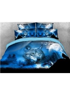 Vivilinen 3D Wild Wolf and Natural Scenery Printed 5-Piece Comforter Sets
