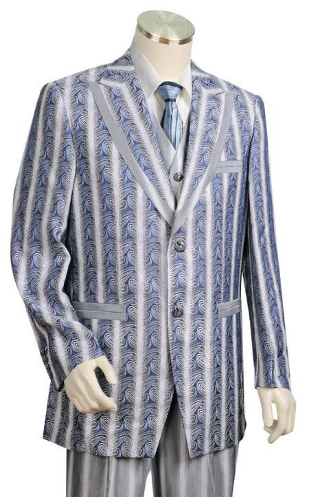 Mens Metallic Wave Pattern Azure Plain Zoot Suit Peak Lapel