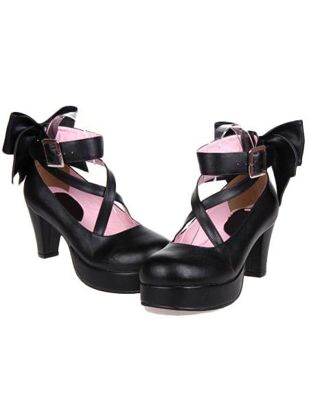 Milanoo Sweet Platform Heels Lolita Shoes Ankle Straps Round Toe