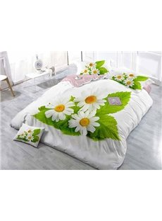 Graceful White Daisies Wear-resistant Breathable High Quality 60s Cotton 4-Piece 3D Bedding Sets