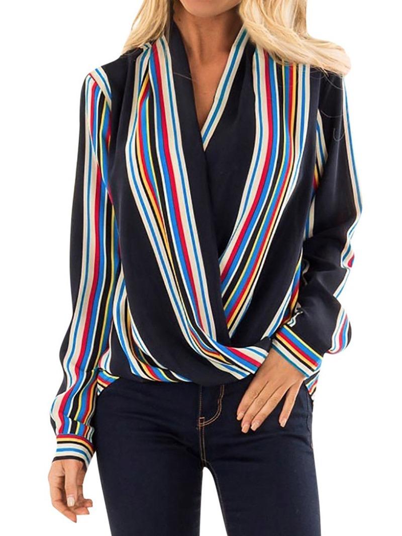 Ericdress Regular Stripe V-Neck Long Sleeve Blouse