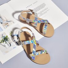 Toddler Girls Holographic Cross Strap Sandals