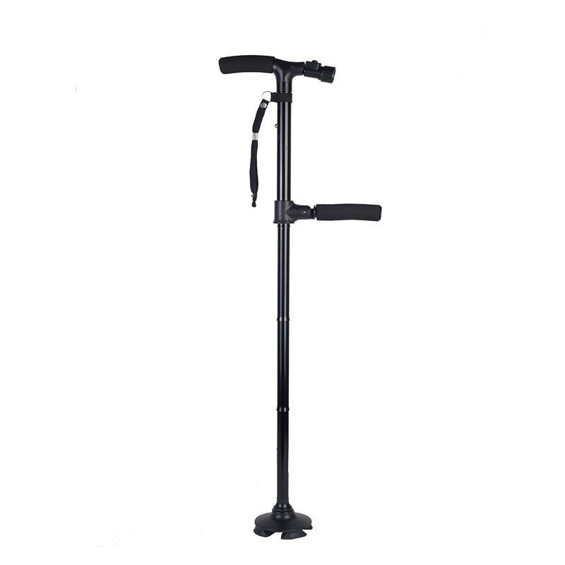 Outdoor Adjustable Dual Handle Cane with Safety Light Quad Base
