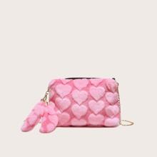 Heart Fluffy Chain Crossbody Bag