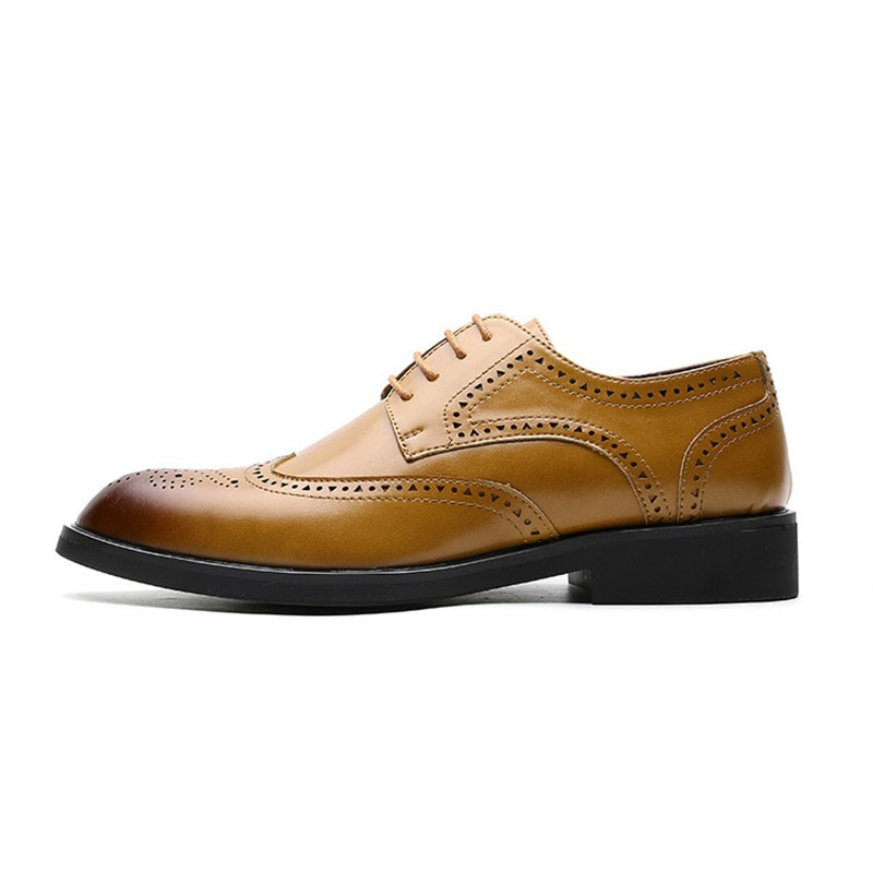 Ericdress PU Lace-Up Pointed Toe Men's Dress Shoes