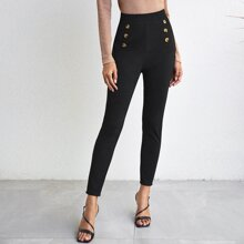 Double Button Solid Skinny Pants