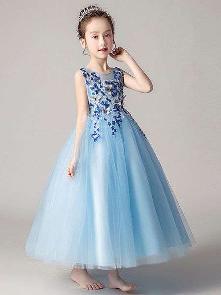 Milanoo Flower Girl Dresses Jewel Neck Tulle Sleeveless Ankle Length Princess Silhouette Flowers Kids Party Dresses