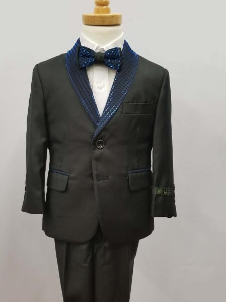 Mens Two Button Jacket Shawl Lapel Suit Black with Blue