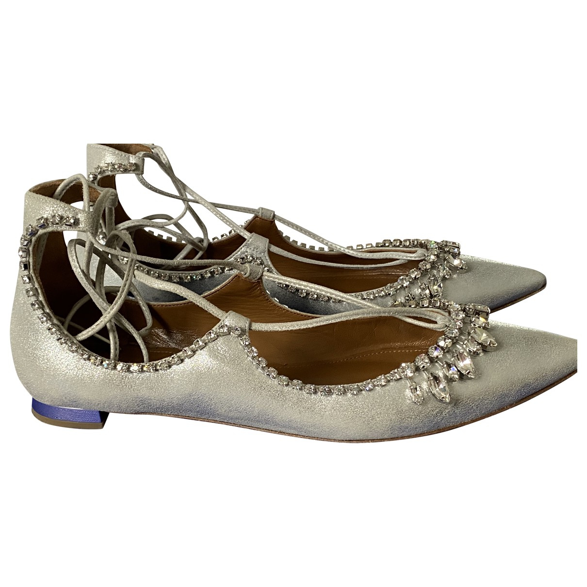 Aquazzura \N Silver Suede Flats for Women 38.5 EU