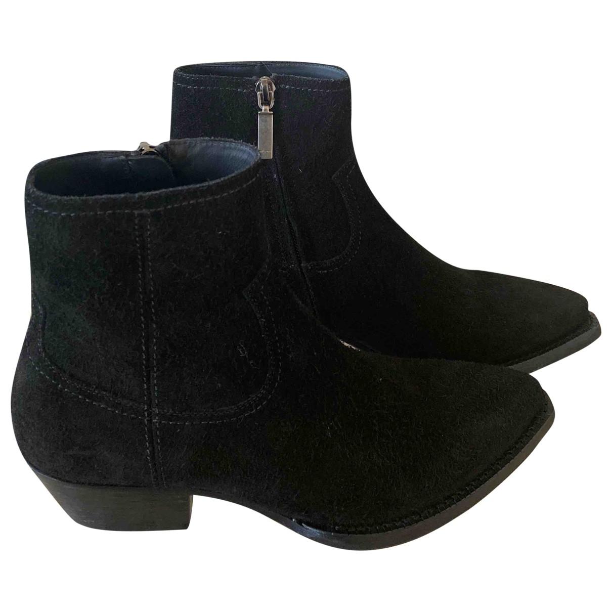 Saint Laurent - Boots   pour femme en suede - noir