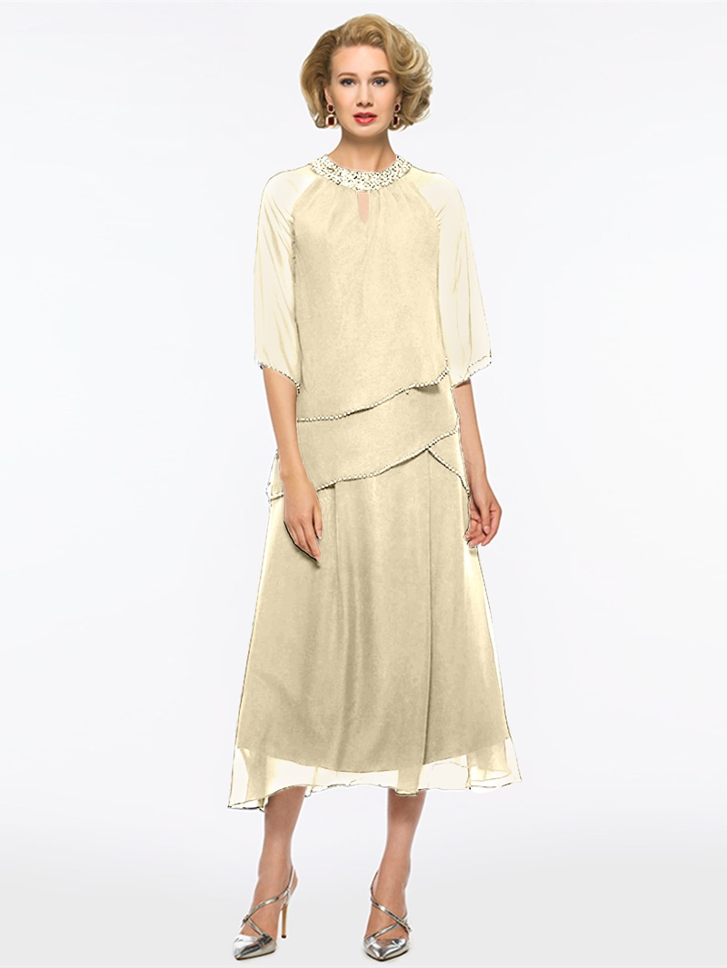 Ericdress Half Sleeves Tea Length Mother of The Bride Dress With Beadings