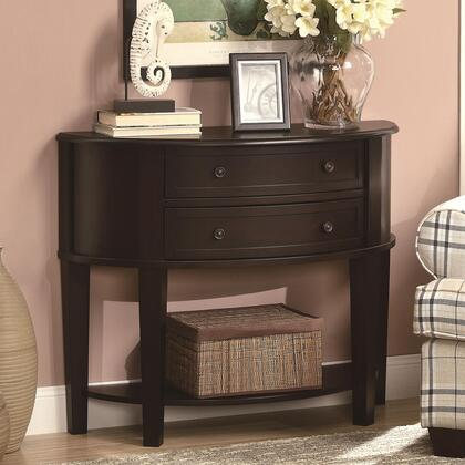 950156 Accent Tables Demi-Lune Entry Sofa Table with 1 Lower Shelf  Wooden Knobs and 2 Drawers in Cappuccino