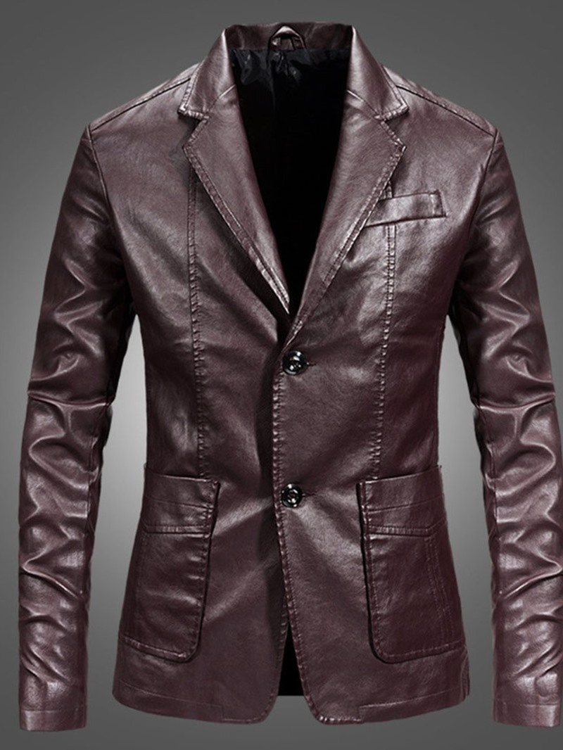 Ericdress Plain Lapel Casual Single-Breasted Men's Leather Jacket