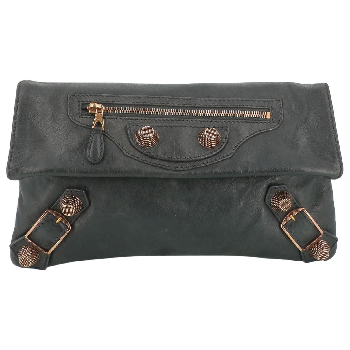 Balenciaga City Grey Leather Clutch bag for Women \N