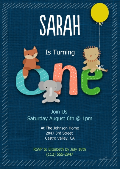 1st Birthday Invitations 5x7 Cards, Premium Cardstock 120lb with Scalloped Corners, Card & Stationery -Age One Animal Friends