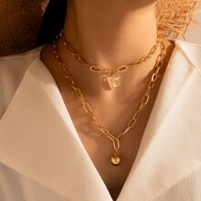 Lock Charm Layered Chain Necklace