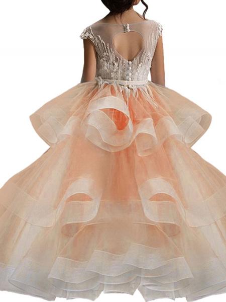 Milanoo Vestidos de niña de las flores Cuello de joya Mangas cortas Apliques Vestidos de desfile social para niños