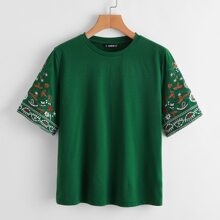 Plants Embroidery Sleeve Top