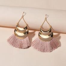 Moon Tassel Drop Earrings
