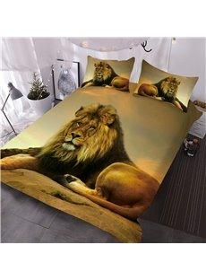 Lion Relaxing on Rock African Safari 3D 3-Piece Comforter Sets