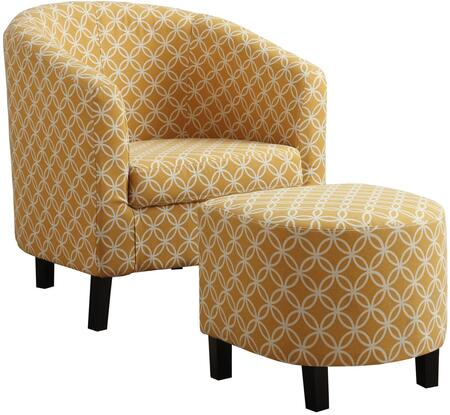 333612 Accent Chair and Ottoman Set with Sloped Arms  Solid Wood Construction  Foam Filled Cushion and Cotton Linen Fabric Upholstery in Yellow