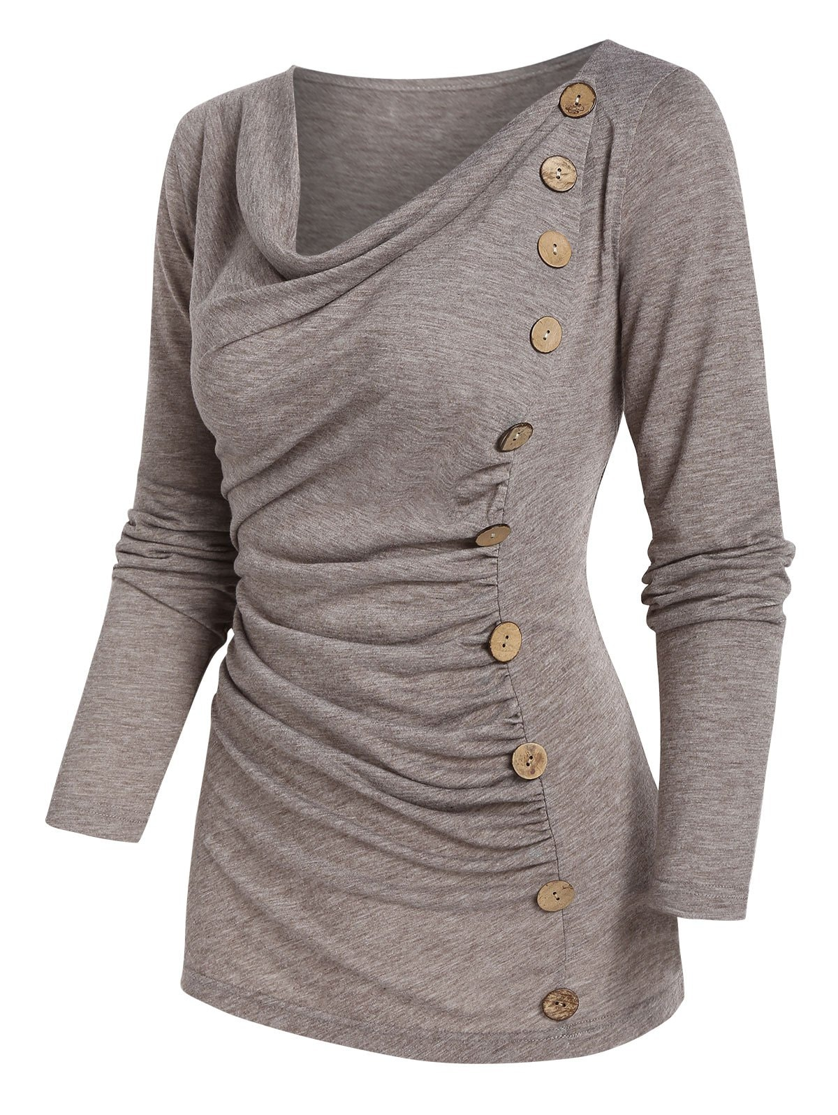 Long Sleeve Mock Button Ruched Heathered T-shirt