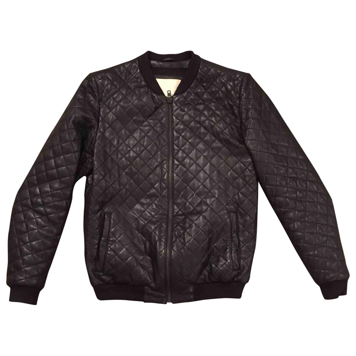 Rvlt - Manteau   pour homme en cuir - noir