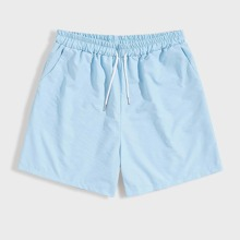 Guys Blue Drawstring Waist Shorts