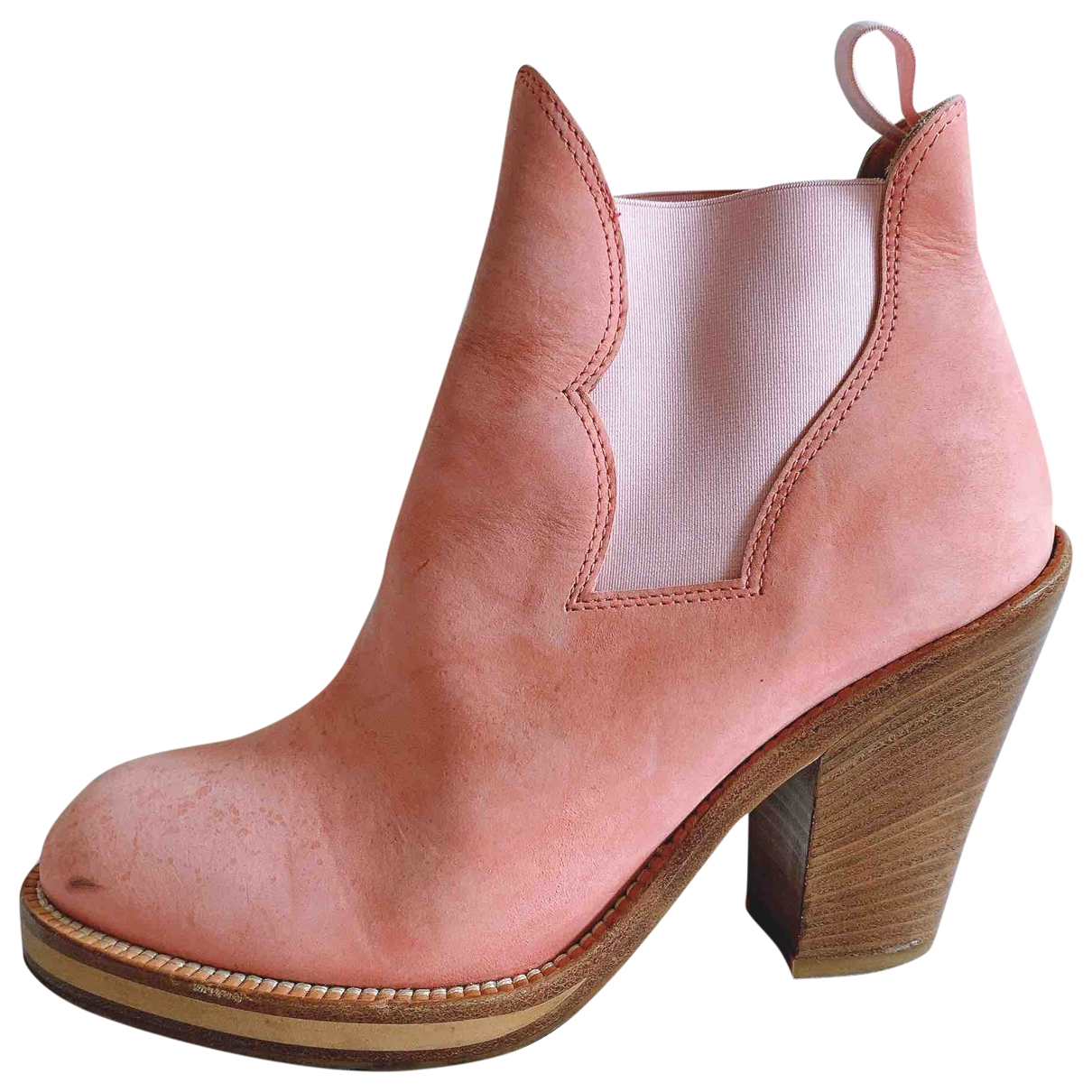 Acne Studios Star Pink Leather Ankle boots for Women 37 EU