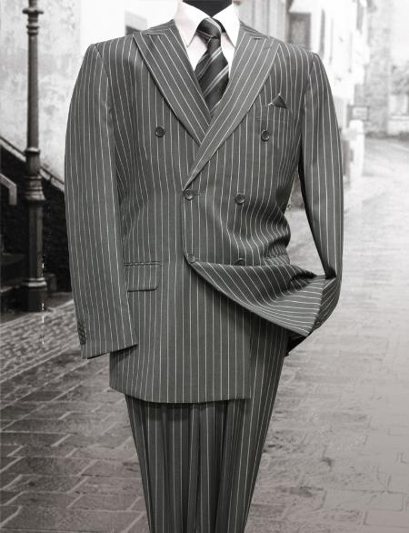 Charcoal Classic Double Breasted Mens Suit with Pinstripe