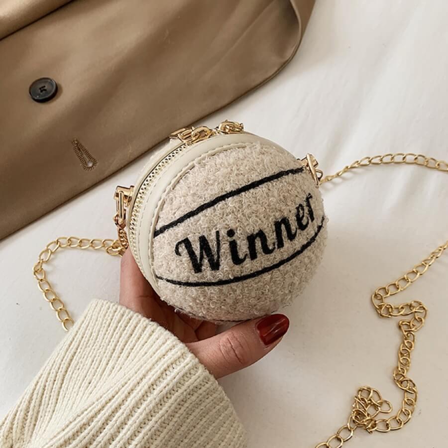 LW Lovely Chic Basketball Beige Crossbody Bag