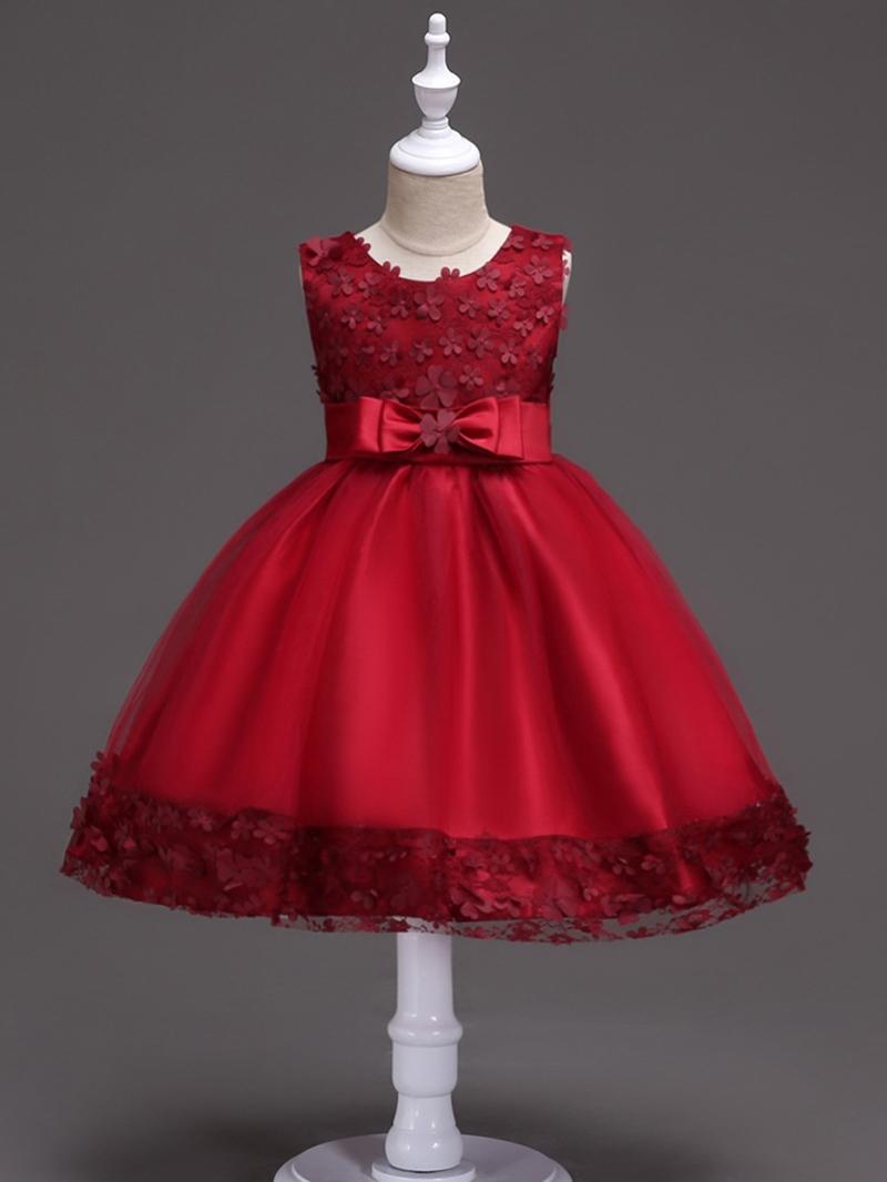 Ericdress Appliques Mesh Patchwork Bowknot Girl's Dress
