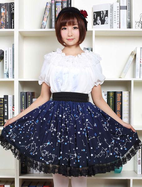 Milanoo Blue Lolita Dress Sweet Constellation Printed Lolita Skirt With Black Lace Trim