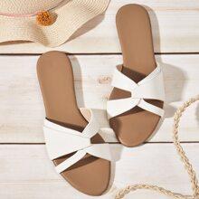 Open Toe Wrap Decor Slide Sandals