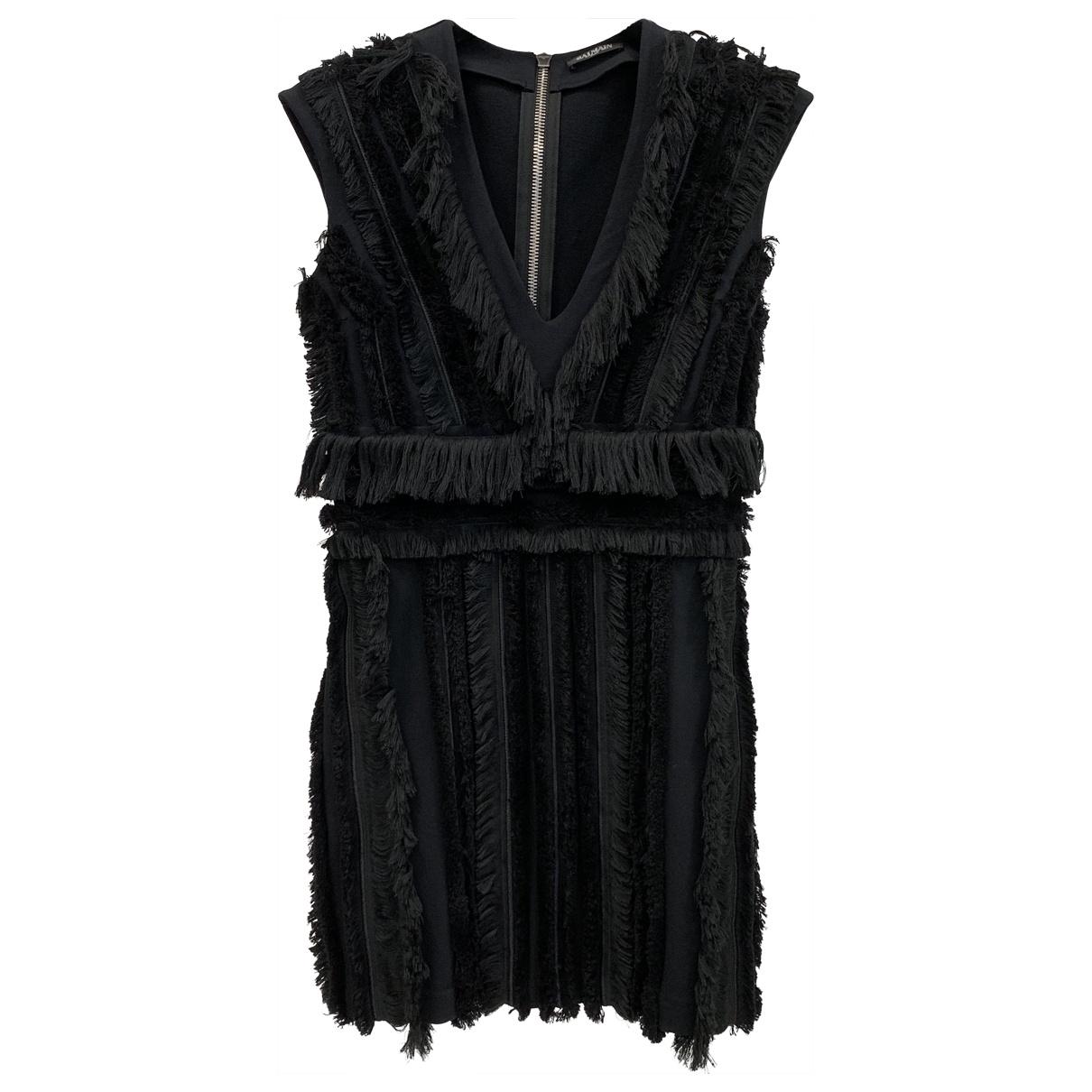 Balmain \N Black Cotton - elasthane dress for Women 40 FR